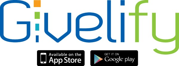 Givelify logo including smaller logos for the App Store and Google Play